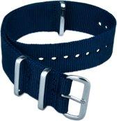Horlogeband Nato Strap - Navy Blue/Blauw - 22mm