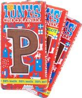 Tony's Chocolonely Letters - Combibox- Melk P, Melk S en een Pure letter S met pepernoten - 3 stuks