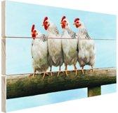 Vier Kippen op stok Hout 30x20 cm - klein - Foto print op Hout (Wanddecoratie)