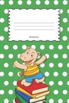 Notebook: Hippopotamus Dark Green Polka Dot Cover - Wide Ruled Line Paper For Children - Kindergarten - Preschool - Key Stage 1