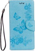 Voor Sony Xperia XA1 Pressed Bloemens vlinder patroon horizontaal Flip lederen hoesje met houder & opbergruimte voor pinpassen & portemonnee(blauw)