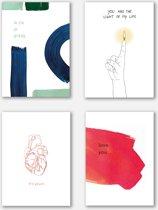 Super originele love kaarten - set van 4 - inclusief bijpassende enveloppen