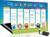 Magnetische Weekplanner (9) - Inclusief Magnetische Marker + Extra Magnetische Wisser - A3 Formaat - Plan Whiteboard - Kalender - Koelkastkalender - Planbord - Familieplanner - Weekplanner kind - Weekly Planner
