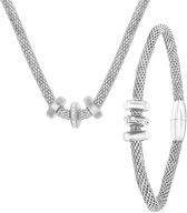 Lucardi - Stalen ketting & armband 3ringen kristal - maat