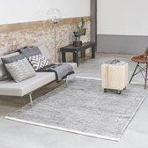 Wollen Vloerkleed - Industrieel Scandinavisch Design - Modern Vloer Tapijt - Zwart/Wit 140x200 Groot