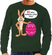 Paas sweater Ei will always love you groen voor heren L
