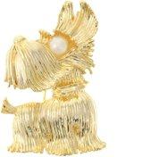 Behave® Broche hond goud kleur met parels 5 cm