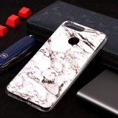 Let op type!! Marmer patroon Soft TPU Case voor Huawei Y6 (2018) (wit)
