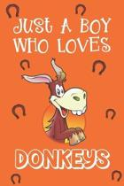 Just A Boy Who Loves Donkeys: Donkey Gifts: Novelty Gag Notebook Gift: Lined Paper Paperback Journal Book