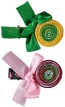 Meisjes Haarknip (2stuks) met satijnband Groen en Roze - H8 - 1 Maat