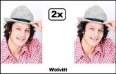 2x Tirolerhoed wolvilt grijs mt.57