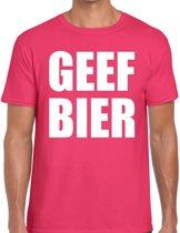 Geef Bier tekst t-shirt roze voor heren - heren feest t-shirts 2XL