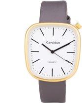 Leren Dames Horloge - Vierkant - Grijs & Goud - Carsidun