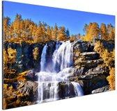 Waterval in Noorwegen Aluminium 90x60 cm - Foto print op Aluminium (metaal wanddecoratie)