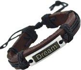 Fako Bijoux® - Armband - Leder - Dream - Zwart