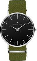 Wallace Hume Zwart - Horloge - Perlon - Olijf Groen