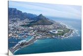 Luchtfoto van het Zuid-Afrikaanse Kaapstad Aluminium 90x60 cm - Foto print op Aluminium (metaal wanddecoratie)