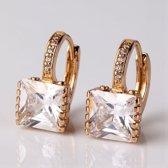 Victoria - Goudkleurige Oorbellen - Australisch Bergkristal - Zirkonia Kristallen