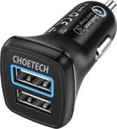 Choetech Quick Charge 3.0 autolader 2 USB laadpoorten - 3A - Zwart