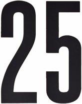 Cijfer sticker 25 zwart 10 cm