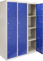 3x Lockers – Lockerkast metaal – locker kledingkast – Blauw - 4 Deurs – lockerkastje