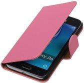 Roze Effen booktype cover hoesje voor Samsung Galaxy J1 Nxt / J1 Mini