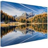 Weerspiegeling in het water bij de Alpen Canvas 60x40 cm - Foto print op Canvas schilderij (Wanddecoratie)