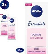 NIVEA Essentials verzachtende Dagcrème - 2 x 50ml - voordeelverpakking