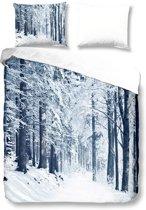 Snoozing Forest - Flanel - Dekbedovertrek - Tweepersoons - 200x200/220 cm + 2 kussenslopen 60x70 cm - Blue