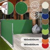 Zonne- windscherm 160 x 600 cm dubbel groen met wandbeugel