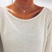 Double Layer Hart Choker Zilver