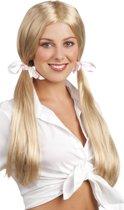 8 stuks: Pruik Schoolmeisje - blond