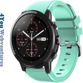 Mint groen Siliconen Bandje voor 22mm Smartwatches van Samsung, LG, Seiko, Asus, Pebble, Huawei, Cookoo, Vostok en Vector – 22 mm rubber smartwatch strap - Gear S3 - LG Watch - mintgroen
