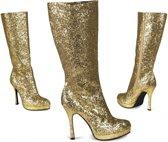 Gouden glitter laarzen met hak 41