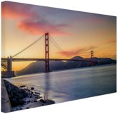 Golden Gate zonsondergang Canvas 60x40 cm - Foto print op Canvas schilderij (Wanddecoratie)