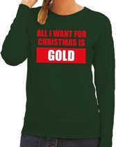 Foute kersttrui / sweater All I Want For Christmas Is Gold groen voor dames - Kersttruien M (38)