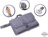 Baby Verschoningsmatje - Hippe Grijze Luiertas met Buggy Clip - Verzorgingstas Rugzak Organizer - Diaper Bags - Helpt met Verschonen van je Luiers waar je ook bent