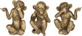 Decoratie apen horen zien en zwijgen  Antiek goud | 6PR2448 | Clayre & Eef