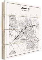 Stadskaart - Zwolle vurenhout groot 100x140 cm - Plattegrond
