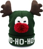 JAP Kerstmuts - Muts met hoorntjes - Rudolf - Ho ho ho - Groen
