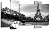Schilderij | Canvas Schilderij Steden, Parijs | Zwart, Wit, Grijs | 120x65cm 5Luik | Foto print op Canvas
