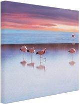Flamingos bij zonsondergang Canvas 30x20 cm - Foto print op Canvas schilderij (Wanddecoratie)