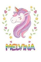 Melvina: Melvina Notebook Journal 6x9 Personalized Gift For Melvina Unicorn Rainbow Colors Lined Paper