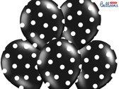 Ballonnen Zwart dots wit 50 stuks
