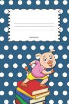 Notebook: Pig Teal Blue Polka Dot Cover - Wide Ruled Line Paper For Children - Kindergarten - Preschool - Key Stage 1 & 2 - 120