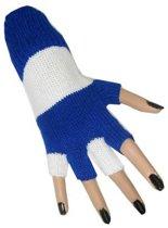Vingerloze handschoen blauw - wit