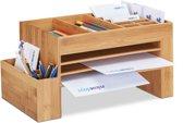 relaxdays bureau organizer bamboe - pennenbak - briefbak groot - 20 x 40 x 21,5 cm