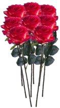 8x Rood/gele rozen Simone kunstbloemen 45 cm