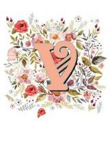 V Monogram Letter Floral Wreath Notebook