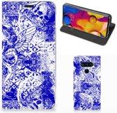 Mobiel BookCase LG V40 Thinq Angel Skull Blue